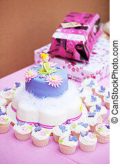 Decorated birthday cake for a little girl