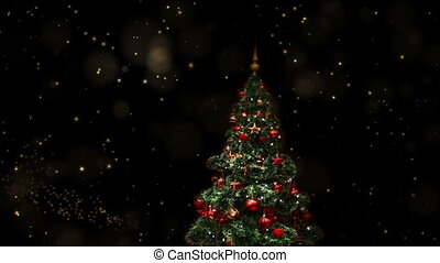 Decorated blinking Christmas tree, shining in the starry...