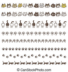 Decorated border line with different cats, paws and buttocks...