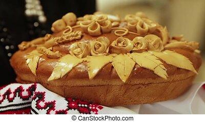 Decorated bread - Wheaten loaf national Ukrainian rushnyk....