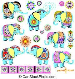 decorated cartoon elephants - set with cartoon Indian...