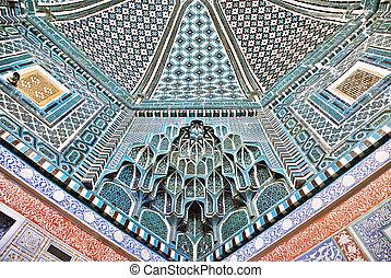 Decorated ceiling in Shah-i-Zinda necropolis, Samarkand