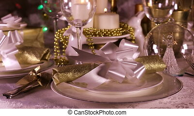 Decorated Christmas Dinner Table Setting - Christmas eve...