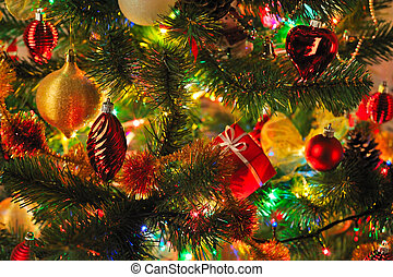 decorated Christmas fir - Christmas fir tree with colorful...