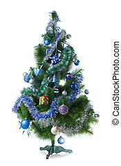 Decorated christmas fir tree isolated on white