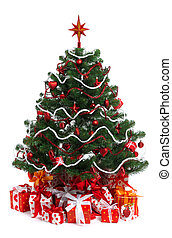 decorated Christmas fir tree with gifts on wnite