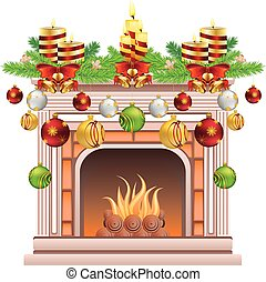 Decorated Christmas Fireplace