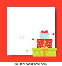 Decorated Christmas frame. New Year blank background with gift boxes