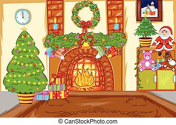 Decorated Christmas House - easy to edit vector illustration...