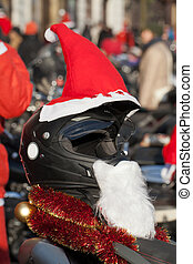 Decorated Christmas the crash helmet of Santa Claus