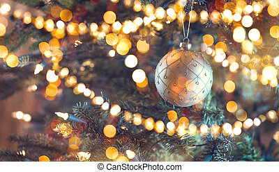 Decorated Christmas tree. Abstract blurred bokeh holiday background