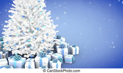 Decorated Christmas tree and gift boxes with falling snowflakes