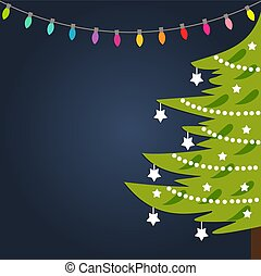Decorated Christmas tree and lights background.