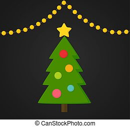 Decorated Christmas tree and lights card.