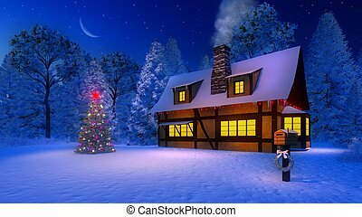 Decorated christmas tree and rustic house at night -...