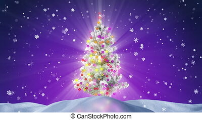 decorated christmas tree at night loopable