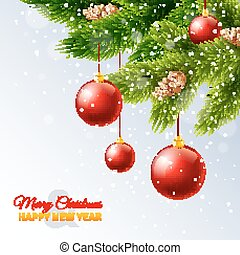 Decorated christmas tree branches card print