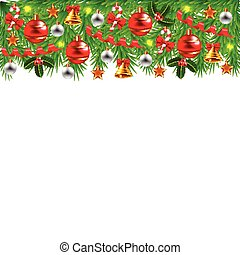 Decorated Christmas tree branches isolated vector