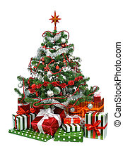 decorated Christmas tree - Christmas tree with festive gift...