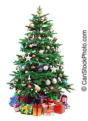 decorated Christmas tree - Christmas tree with gifts ...