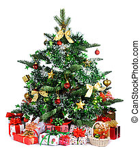 decorated Christmas tree - Christmas tree with heap of gifts...