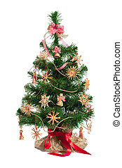 decorated Christmas tree - Christmas tree with straw toy...