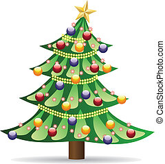 Decorated Christmas tree - Abstract decorated Christmas tree...