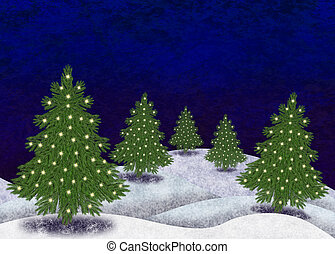 Christmas tree in a snowy landscape