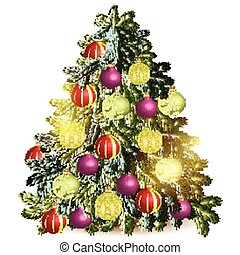 Decorated Christmas tree isolated o