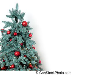 Decorated christmas tree on white background with free space for text.