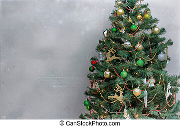 Decorated Christmas tree. Place for your text.