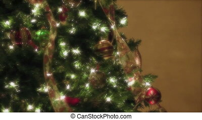 Christmas tree - Decorated Christmas tree slowly spinning