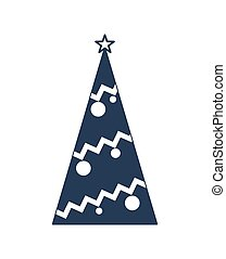 Decorated christmas tree vector icon