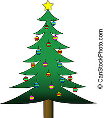 Decorated Christmas Tree - Vector illustration of a...