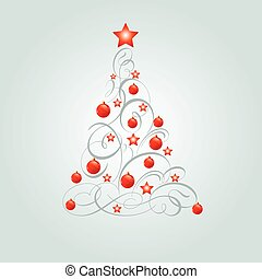 Vector illustration of decorated Christmas tree with place for copyspace