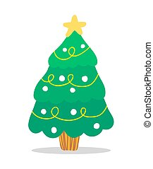 Decorated Christmas Tree with Garlands and Star