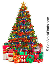 Decorated Christmas tree with gifts isolated