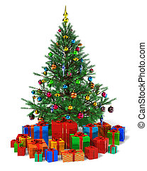 Decorated Christmas tree with heap of color gift boxes...