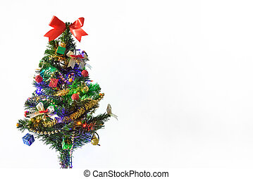 decorated christmas tree with light and gift on white background, happy new year concept