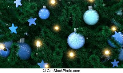 Decorated Christmas tree with sparkling light garland, balls and stars. Falling snowflakes, winter New Year background