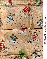 Decorated Christmas wrapping paper.