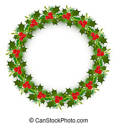 Christmas Wreath - Decorated Christmas Wreath Over White...