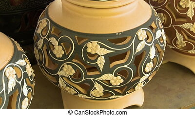 Decorated Clay Containers, Perak Pottery, Malaysia - Extreme...