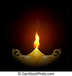 Decorated Diya for Happy Diwali - illustration of decorated...