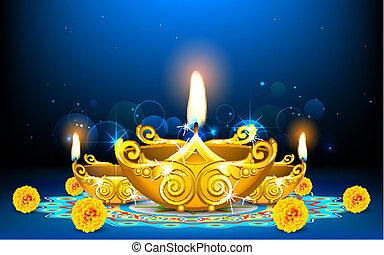 Decorated Diya - illustration of burning decorated diya on ...