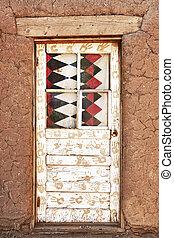 Decorated Door and Adobe Building, Taos Pueblo