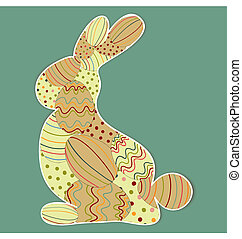 Decorated Easter bunny silhouette