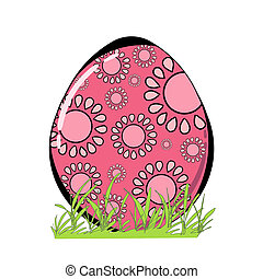 Decorated Easter egg with grass isolated on white background