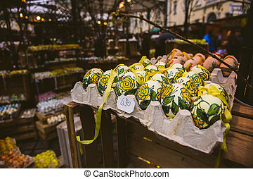 Decorated easter eggs for sale in street market