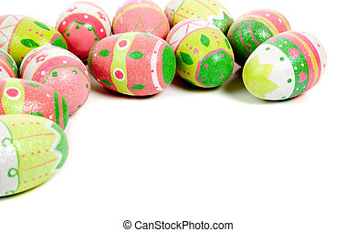 Decorated easter eggs on white with copy space